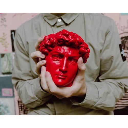 Кашпо голова Давида, красная