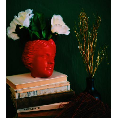Кашпо голова Венеры, красная