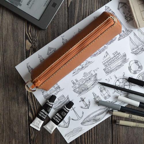 Пенал кожаный для ручек, коричневый