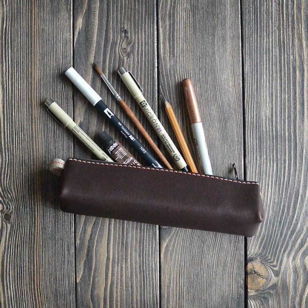 Пенал кожаный для ручек, шоколадный