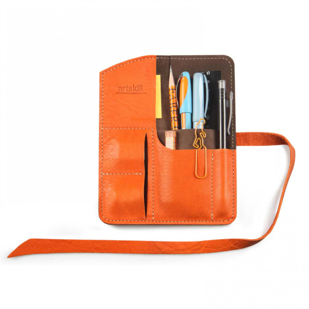 Пенал кожаный, оранжевый Artskill Mini