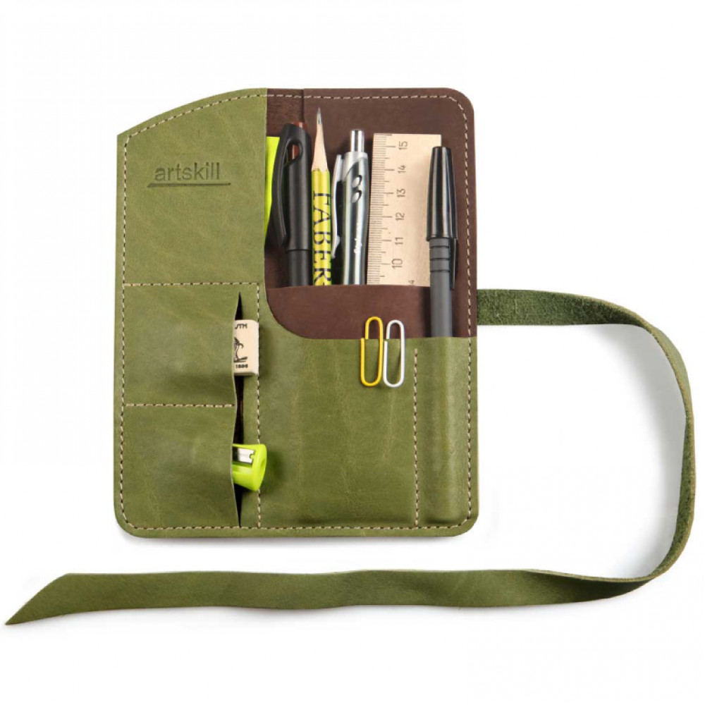 Пенал кожаный, зеленый Artskill Mini