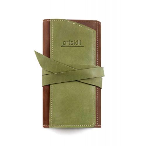 Пенал кожаный, зеленый Artskill Pro