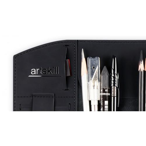 Пенал кожаный, черный Artskill Pro